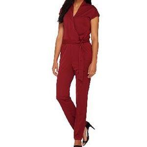 H by Halston Wrap Jumpsuit Short Sleeves Shiraz XL